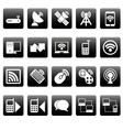 White wireless icons on black squares vector image