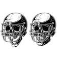 graphic human skull in american football helmet vector image