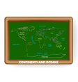 world map drawing on the classroom blackboard vector image