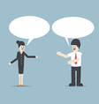 Businessman and woman talking with Speech Bubbles vector image