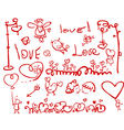 hand drawing love elements vector image