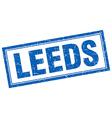 Leeds blue square grunge stamp on white vector image