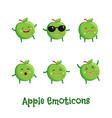 apple smiles cute cartoon emoticons emoji icons vector image