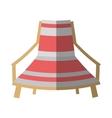 cartoon pink and white chair beach break shadow vector image