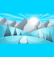 cartoon winter landscape cloud mountain road vector image