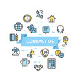 contact us icon round design template thin line vector image