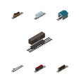 isometric train set of train delivery tank vector image