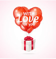 realistic 3d detailed red balloon and present box vector image