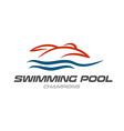 Swimming pool logo template vector image