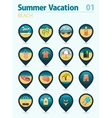 Beach pin map icon set Summer Vacation vector image