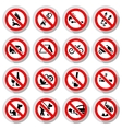 Set Prohibited signs on paper stickers vector image