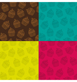Background patterns set of different colored cupca vector image
