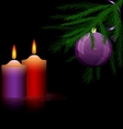 christmas tree and candles vector image vector image