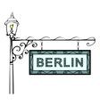 Berlin retro vintage pointer lamppost vector image