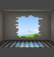 break in the wall of the room vector image