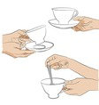 Collection - hand with cup vector image