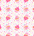 Cupcakes seamless pattern vector image