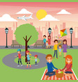 differents family activities in the park city vector image