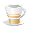 porcelain white cup with gold strips and saucer vector image