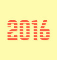 red dashed 2016 number on yellow background vector image
