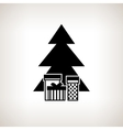 Silhouette christmas tree with gifts vector image