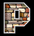 stone letter P vector image