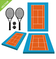 Tennis courts and tennis ball vector image