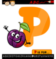 letter p with plum cartoon vector image vector image