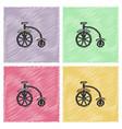 antique highwheel bike 1885 in hatching style vector image vector image