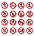 Prohibited signs paper sticky vector image