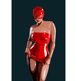 sexy woman in red latex vector image