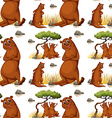 Seamless background with beaver and tree vector image