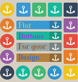 Anchor icon sign Set of twenty colored flat round vector image