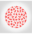 circle from red gift box and snowflake vector image