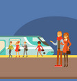 couple waiting for train arrival on platform part vector image