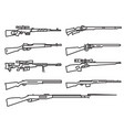 firearm set gun rifle carbine flat design outline vector image