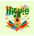 Hippie with guitar and flowers vector image