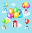 realistic 3d detailed color balloons and present vector image