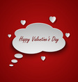 Valentines card with dialog bubble and hearts vector image