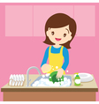 mom dish washing vector image