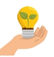 hand holding bulb ecology emblem vector image