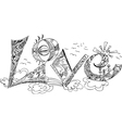 LOVE sketchy doodles vector image vector image