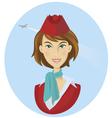 Beauty cheerful stewardess women vector image