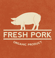 Premium pork label with grunge texture organic vector image