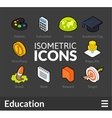Isometric outline icons set 15 vector image vector image