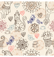 seamless cat background vector image vector image