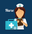 nurse suitcase first aid clipboard report medical vector image