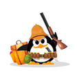 penguin on a safari abstract humorous image of a vector image vector image