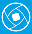 semi-closed lens icon white vector image