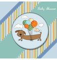 baby shower card with long dog and balloons vector image